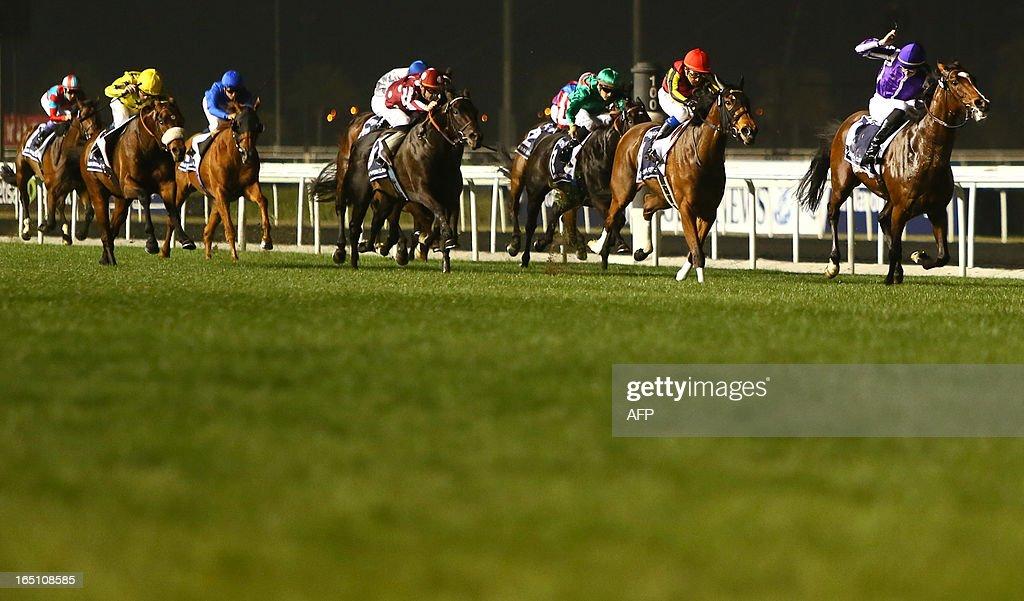 Jockey Joseph O'Brien leads St. Nicholas Abbey to win the Dubai Sheema Classic part of the Dubai World Cup meet, the world's richest race, at Meydan race track in Dubai on March 30, 2013.