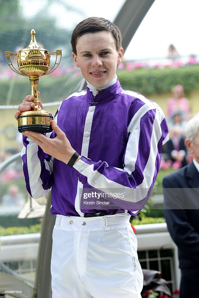 Jockey <a gi-track='captionPersonalityLinkClicked' href=/galleries/search?phrase=Joseph+O%27Brien+-+Jockey&family=editorial&specificpeople=12884576 ng-click='$event.stopPropagation()'>Joseph O'Brien</a> poses with The Ribblesdale Stakes trophy after winning the race with horse Bracelet during day three of Royal Ascot at Ascot Racecourse on June 19, 2014 in Ascot, England.