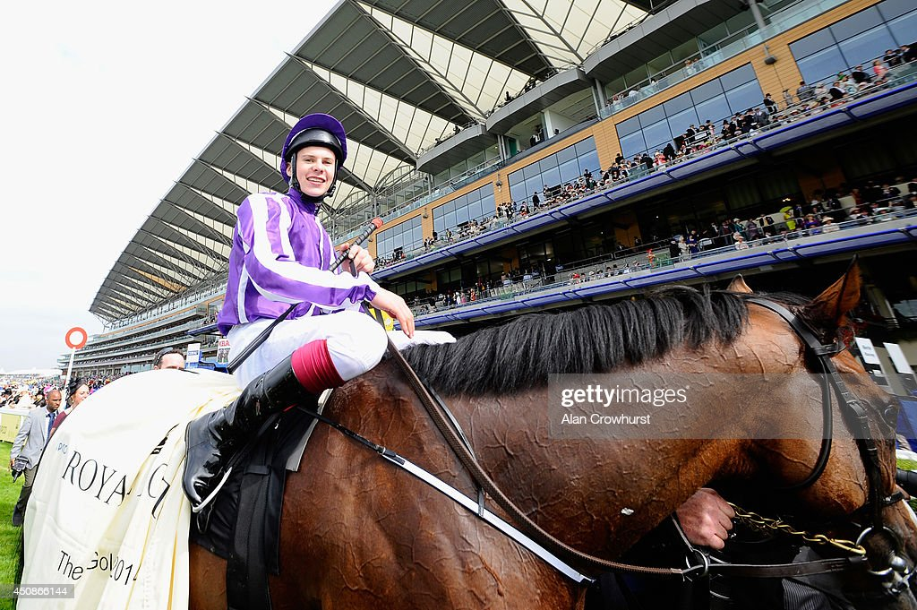 Jockey <a gi-track='captionPersonalityLinkClicked' href=/galleries/search?phrase=Joseph+O%27Brien+-+Jockey&family=editorial&specificpeople=12884576 ng-click='$event.stopPropagation()'>Joseph O'Brien</a> riding Leading Light celebrates winning the Gold Cup during day three of Royal Ascot at Ascot Racecourse on June 19, 2014 in Ascot, England.