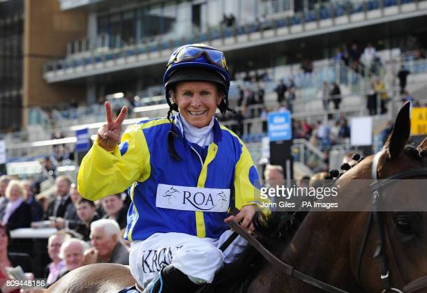 Jockey Julie Krone and Invincible Hero celebrate winning the Clipper Logistics Leger Legends Classified Stakes during the Welcome to Yorkshire St...