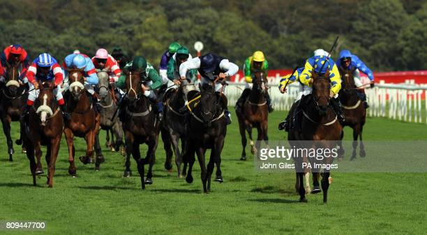 Jockey Julie Krone and Invincible Hero goes on to win the Clipper Logistics Leger Legends Classified Stakes during the Welcome to Yorkshire St Ledger...