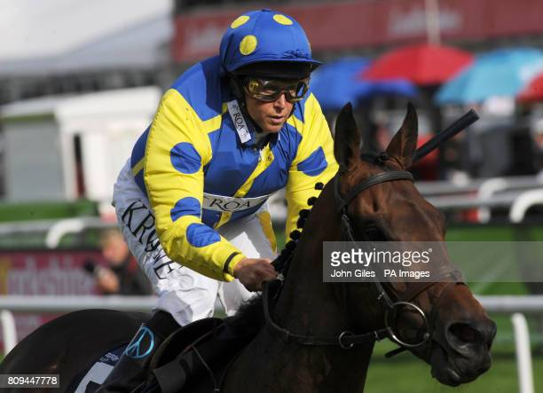 Jockey Julie Krone and Invincible Hero win the Clipper Logistics Leger Legends Classified Stakes during the Welcome to Yorkshire St Ledger Festival...