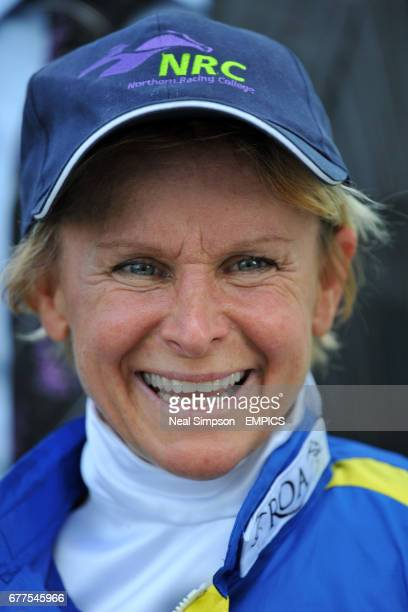 Jockey Julie Krone celebrates winning the The Clipper Logistics Legends Classified Stakes on Invincible Hero