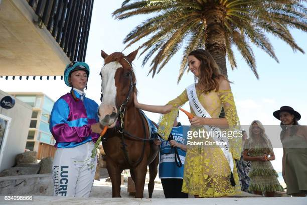 Jockey Katelyn Mallyon Apache Cat and Madeline Cowe pose during the Festival of Racing Media Launch at the St Kilda Beach Pontoon on February 9 2017...