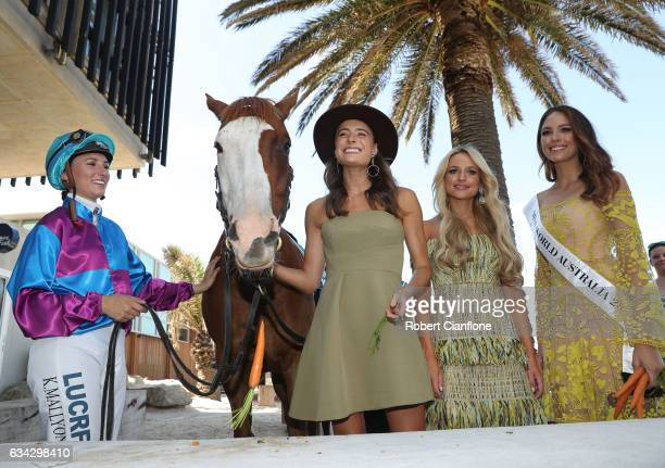 Jockey Katelyn Mallyon Apache Cat Rebecca Harding Jessie Murphy and Madeline Cowe pose during the Festival of Racing Media Launch at the St Kilda...