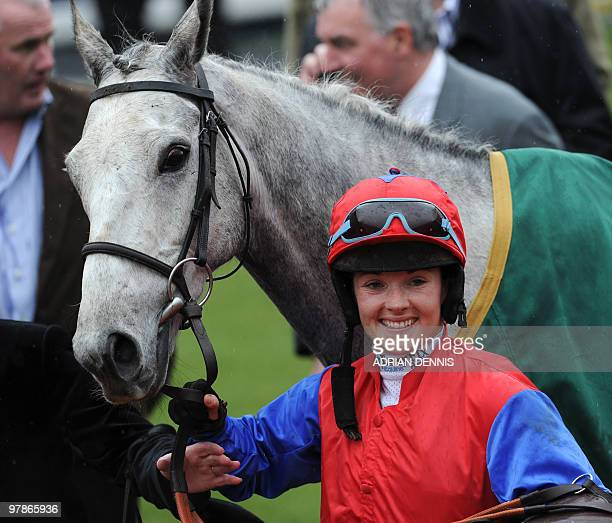 Jockey Katie Walsh alongside Thousand Stars in the Winners Enclosure after The Vincent O'Brien County Handicap Hurdle Race on the final day of the...