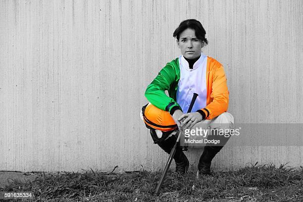 Jockey Katie Walsh of Ireland poses at Caulfield Racecourse on August 18 2016 in Caulfield Australia
