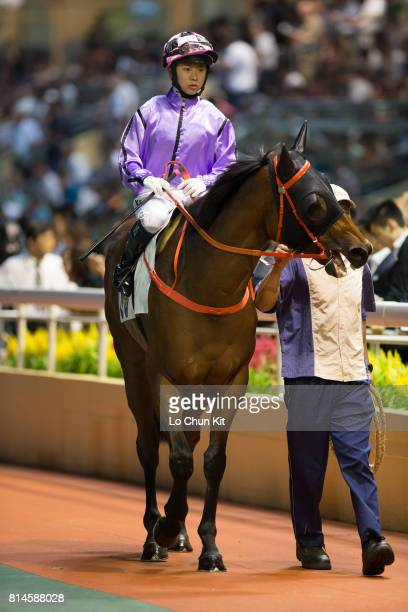 Jockey Kei Chiong Kakei riding Who Else But You during the Race 5 Let Me Fight Handicap at Happy Valley Racecourse on July 12 2017 in Hong Kong Hong...