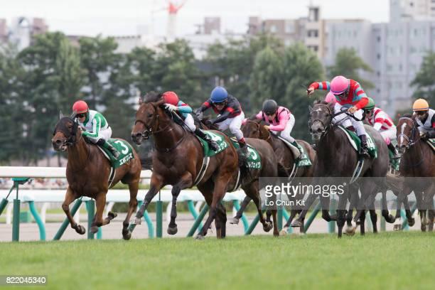Jockey Keita Tosaki riding Blanc Bonheur wins the Race 11 Keeneland Cup at the Sapporo Racecourse on August 28 2016 in Sapporo Hokkaido Japan
