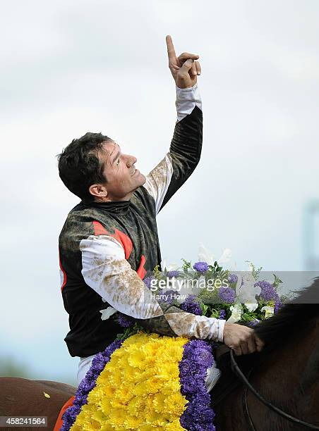 Jockey Kent Desormeaux celebrates atop Texas Red after winning the 2014 Sentient Jet Breeders' Cup Juvenile at Santa Anita Park on November 1 2014 in...
