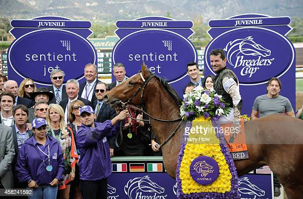 Jockey Kent Desormeaux celebrates atop Texas Red in the winner's circle after the 2014 Sentient Jet Breeders' Cup Juvenile at Santa Anita Park on...