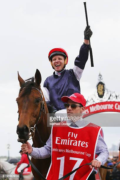 Jockey Kerrin McEvoy riding Almandin returns to scale after winning race 7 the Emirates Melbourne Cup on Melbourne Cup Day at Flemington Racecourse...