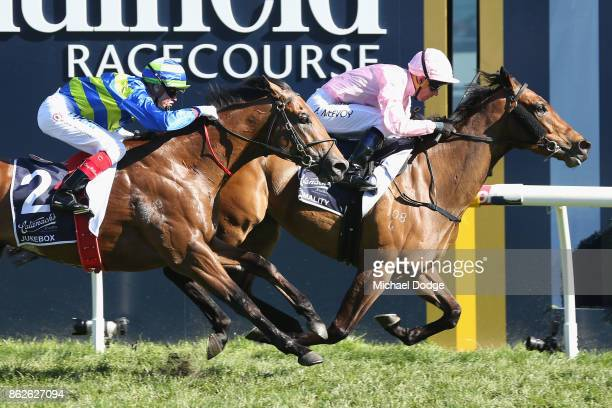 Jockey Kerrin McEvoy riding Formality wins race 6 the Blue Sapphire Stakes during Melbourne Racing at on October 18 2017 in Melbourne Australia