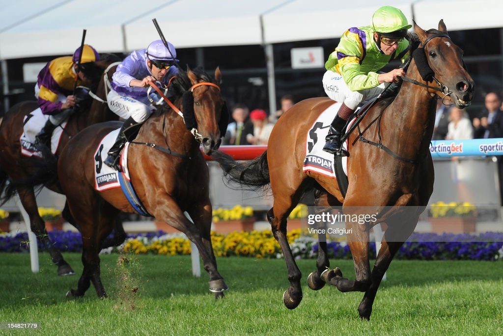 Jockey Kerrin McEvoy wins on Star of Giselle in the Trojan Hand Tools Stakes during Cox Plate Day at Moonee Valley Racecourse on October 27, 2012 in Melbourne, Australia.