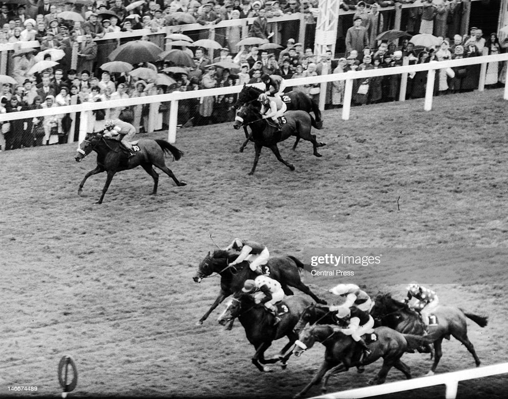 Jockey <a gi-track='captionPersonalityLinkClicked' href=/galleries/search?phrase=Lester+Piggott&family=editorial&specificpeople=208072 ng-click='$event.stopPropagation()'>Lester Piggott</a> on Casablanca (No. 3) wins the The Royal Hunt Cup at Ascot, 16th June 1965. Also pictured are W. Williamson on Weepers Boy (4), Zaleucus (between 3 and 4), Balustrade (2), Old Tom (7), Gay Casino (10), Excel (5) and Gelert (25).
