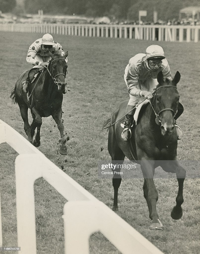 Jockey <a gi-track='captionPersonalityLinkClicked' href=/galleries/search?phrase=Lester+Piggott&family=editorial&specificpeople=208072 ng-click='$event.stopPropagation()'>Lester Piggott</a> on Fighting Charlie, passing Yves Saint-Martin on Waldmeister to win the Gold Cup at Ascot, 17th June 1965.