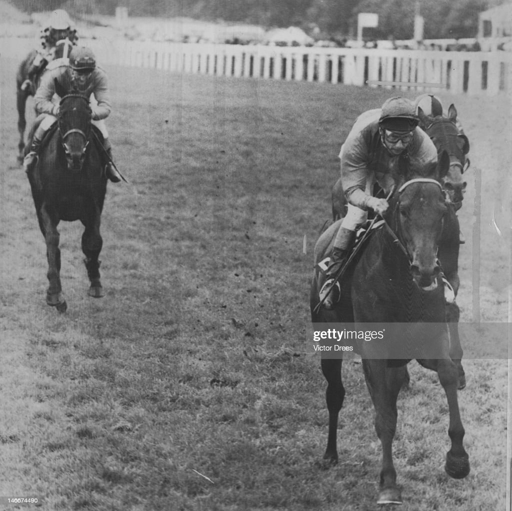 Jockey <a gi-track='captionPersonalityLinkClicked' href=/galleries/search?phrase=Lester+Piggott&family=editorial&specificpeople=208072 ng-click='$event.stopPropagation()'>Lester Piggott</a> wins the Rous Memorial Stakes at Ascot, on Sweet Moss, 18th June 1965. This takes him up to a record eight wins at Royal Ascot.