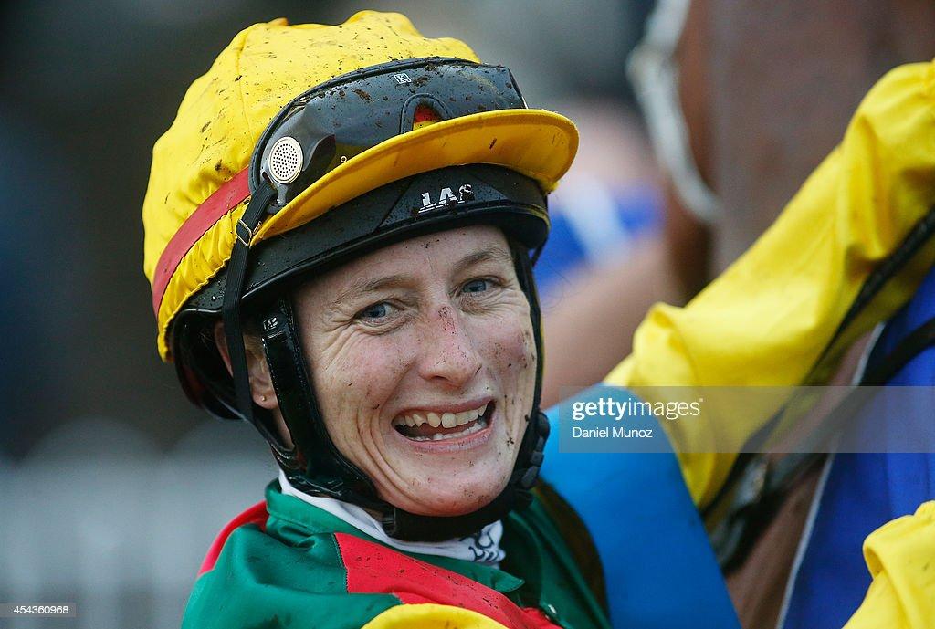 Jockey Linda Meech reacts after winning Race 8 'Hyland Race Colours Handicap' during Sydney Racing at Rosehill Gardens on August 30, 2014 in Sydney, Australia.