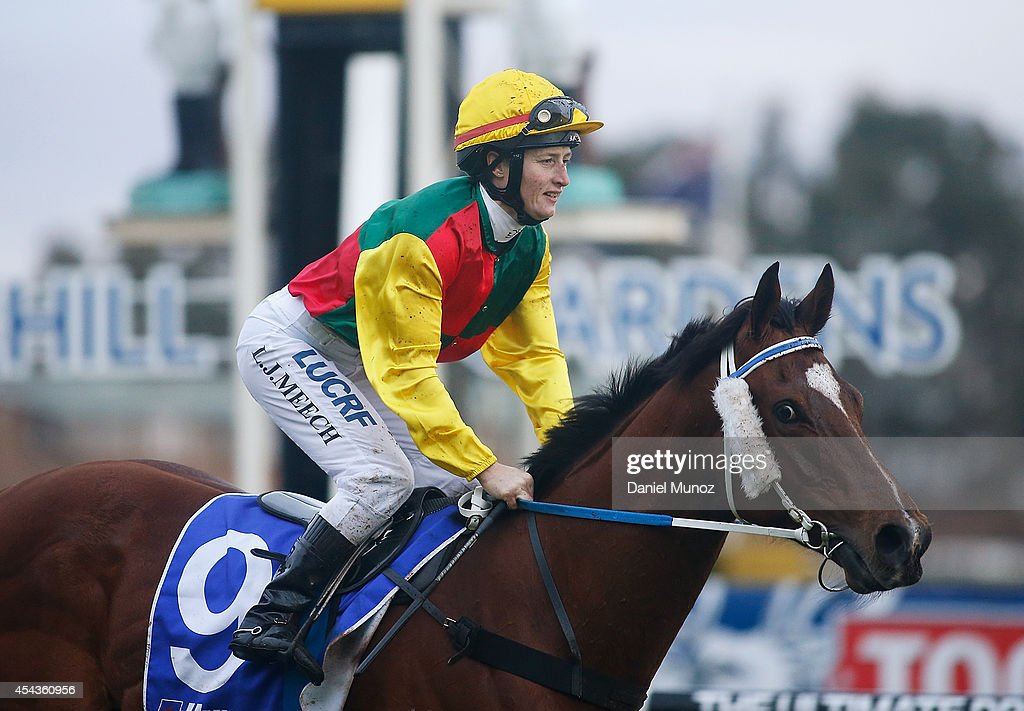 Jockey Linda Meech riding Weinholt reacts after winning Race 8 'Hyland Race Colours Handicap' during Sydney Racing at Rosehill Gardens on August 30, 2014 in Sydney, Australia.