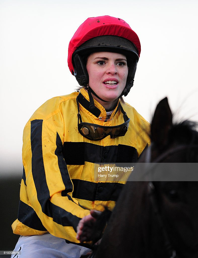Jockey Lizzie Kelly at Exeter Racecourse on February 14, 2016 in Exeter, England.