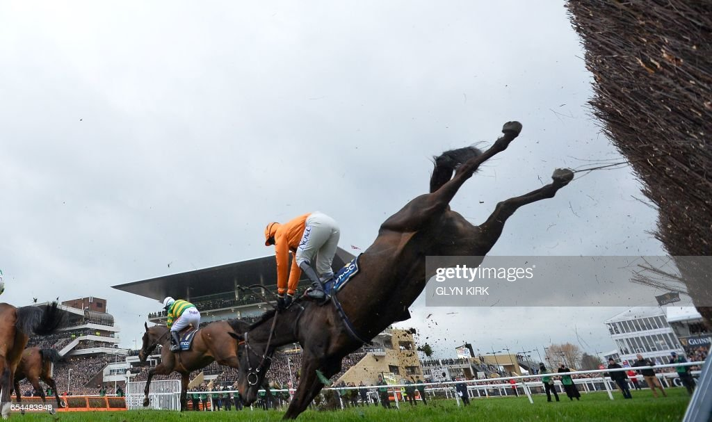 TOPSHOT - Jockey Lizzie Kelly falls from her horse during the Gold Cup race on the final day of the Cheltenham Festival horse racing meeting at Cheltenham Racecourse in Gloucestershire, south-west England, on March 17, 2017. / AFP PHOTO / Glyn KIRK