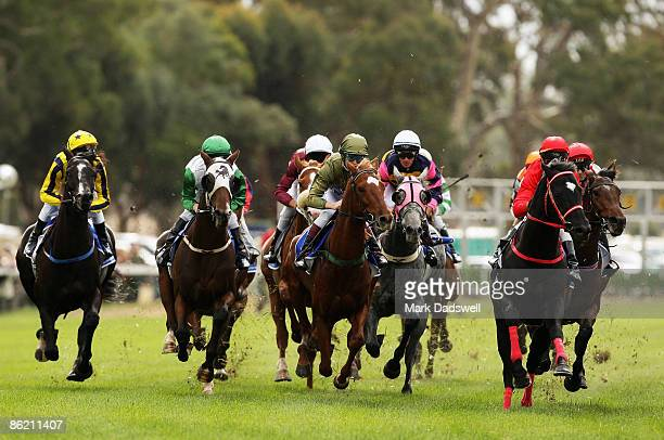 Jockey Louise Cooper riding Elquilita Lad sits midfield in the TB White Sons Maiden Plate on April 25 2009 in Avoca Australia All jockeys riding...