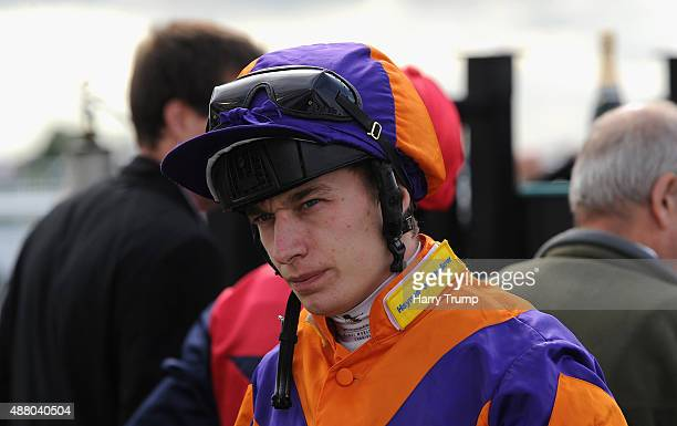Jockey Luke Morris looks on at Bath Racecourse on September 13 2015 in Bath England