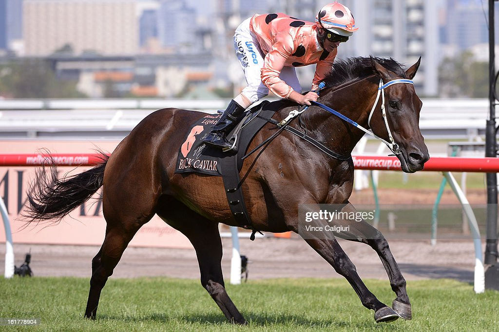 Jockey Luke Nolen riding Black Caviar wins her 23rd consecutive race, the Black Caviar Lightning Stakes during Lightning Stakes Day at Flemington Racecourse on February 16, 2013 in Melbourne, Australia.