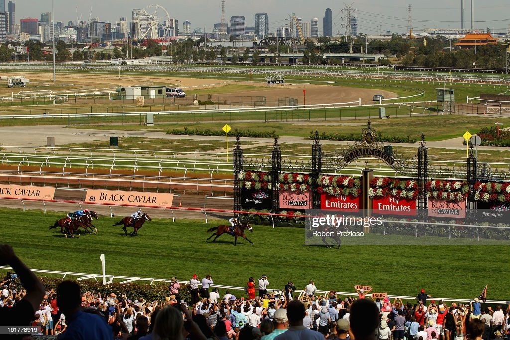 Jockey <a gi-track='captionPersonalityLinkClicked' href=/galleries/search?phrase=Luke+Nolen&family=editorial&specificpeople=2190756 ng-click='$event.stopPropagation()'>Luke Nolen</a> riding Black Caviar wins her 23rd consecutive race, during Lightning Stakes Day at Flemington Racecourse on February 16, 2013 in Melbourne, Australia.