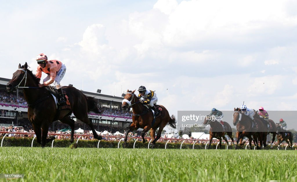 Jockey <a gi-track='captionPersonalityLinkClicked' href=/galleries/search?phrase=Luke+Nolen&family=editorial&specificpeople=2190756 ng-click='$event.stopPropagation()'>Luke Nolen</a> riding Black Caviar wins her 23rd consecutive race, the Black Caviar Lightning Stakes during Lightning Stakes Day at Flemington Racecourse on February 16, 2013 in Melbourne, Australia.