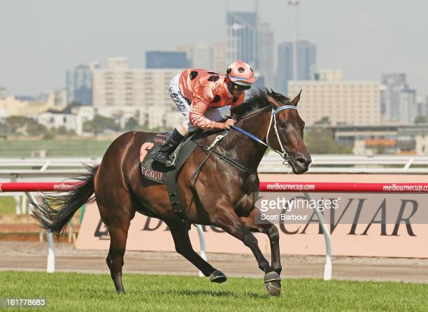 Jockey Luke Nolen riding Black Caviar wins race 7 the Black Caviar Lightning Stakes during Lightning Stakes Day at Flemington Racecourse on February...