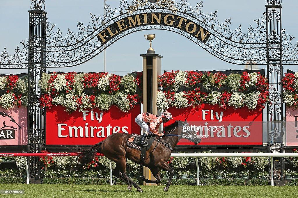 Jockey Luke Nolen riding Black Caviar wins race 7 the Black Caviar Lightning Stakes during Lightning Stakes Day at Flemington Racecourse on February 16, 2013 in Melbourne, Australia.