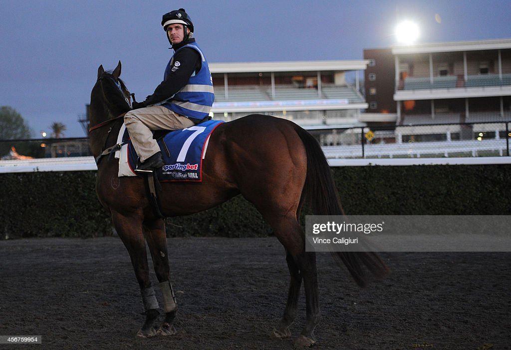 Jockey Luke Nolen riding Moment of Change during a Melbourne trackwork session at Caulfield Racecourse on October 7, 2014 in Melbourne, Australia.