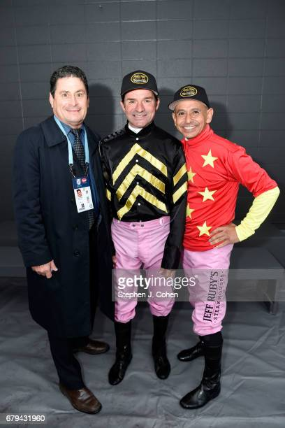 Jockey manager Darrell Haire poses with Jockeys Kent DeSormeaux and Mike Smith pose prior to the 143rd running of The Kentucky Oaks at Churchill...