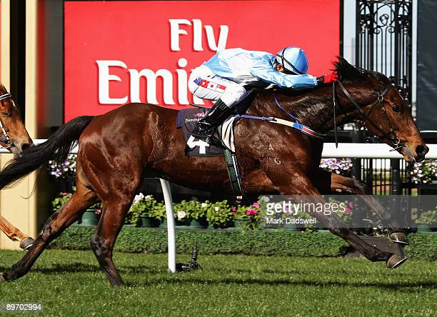 Jockey Mark Ewe riding No 4 Chartreux wins Race One the 2009 Asian Young Guns Challenge Leg 1 during the Racing Rewards Day meeting at Flemington...