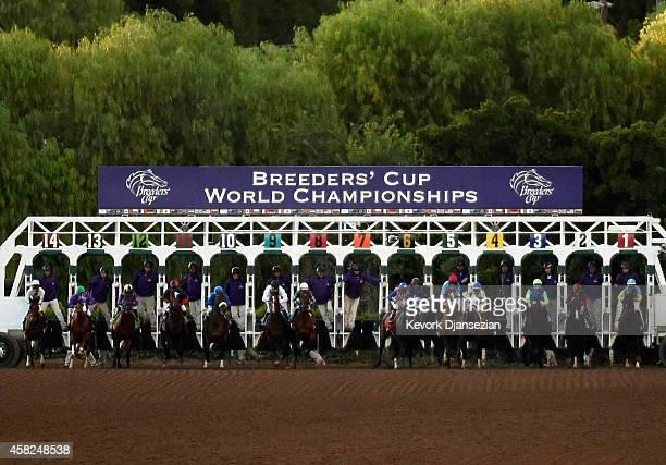 Jockey Martin Garcia leaves the gates to start the 2014 Breeders' Cup Classic at Santa Anita Park on November 1 2014 in Arcadia California Martin...