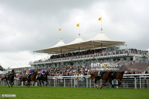 Jockey Martin Harley on Bungle Inthejungle on the way to winning the bet365 Molecomb Stakes ahead of Neil Callan on Morawij