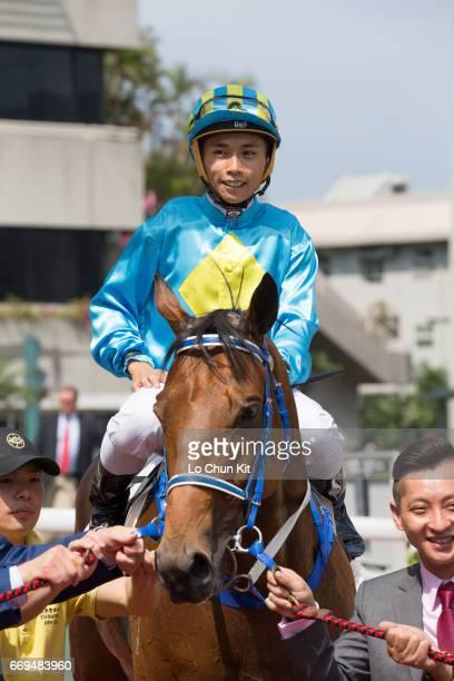 Jockey Matthew Poon Mingfai riding London City wins Race 4 Ma Kong Shan Handicap at Sha Tin racecourse on April 17 2017 in Hong Kong Hong Kong