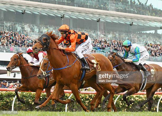 Jockey Michael Rodd riding Emmalene wins Race 4 the Gucci Stakes during Crown Oaks Day at Flemington Racecourse on November 3 2011 in Melbourne...