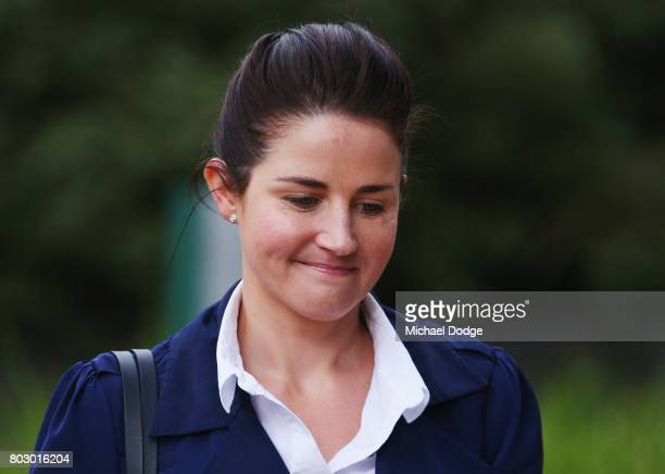 Jockey Michelle Payne arrives ahead of a hearing into her alleged positive test for banned substance on June 29 2017 in Melbourne Australia