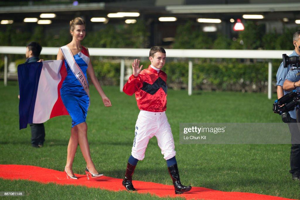 Jockey Mickael Barzalona attends the Longines International Jockeys Championship opening ceremon at Happy Valley Racecourse on December 7, 2016 in Hong Kong, Hong Kong.
