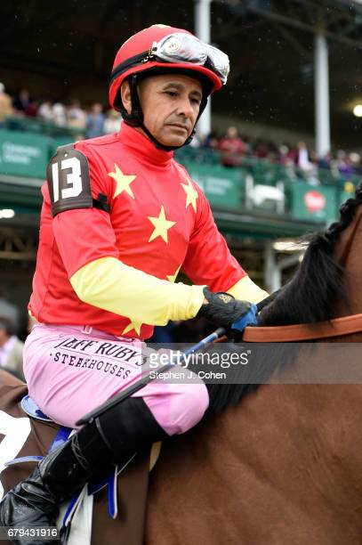 Jockey Mike Smith rides Abel Tasman during the 143rd running of The Kentucky Oaks at Churchill Downs on May 5 2017 in Louisville Kentucky