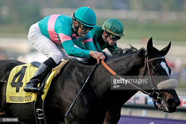 Jockey Mike Smith rides the mare Zenyatta to victory at the finish of the Breeders' Cup Classic thoroughbred race at Santa Anita Park in Arcadia...