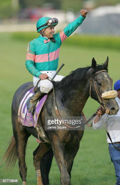 Jockey Mike Smith riding Giacomo celebrates after winning the 131st Kentucky Derby on May 7 2005 at Churchill Downs in Louisville Kentucky Giacomo...