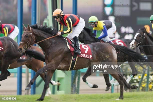 Jockey Mirco Demuro riding Duramente during the Race 11 Nakayama Kinen at Nakayama Racecourse on February 28 2016 in Funabashi Chiba Japan Duramente...