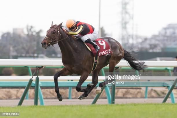 Jockey Mirco Demuro riding Duramente wins the Race 11 Nakayama Kinen at Nakayama Racecourse on February 28 2016 in Funabashi Chiba Japan Jockey Mirco...