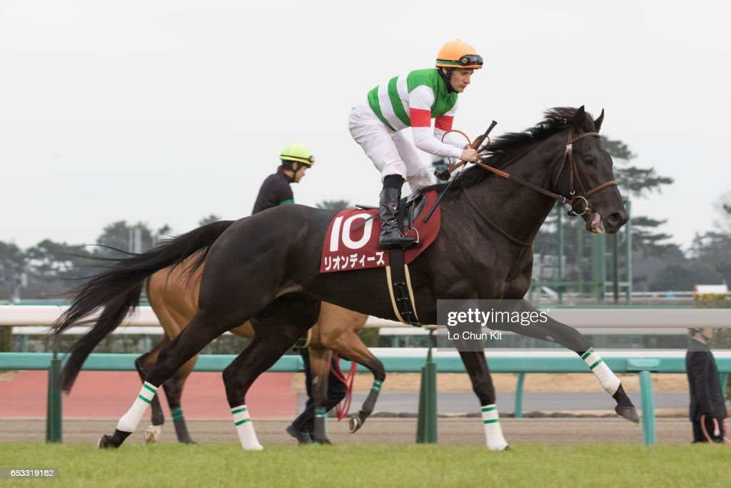 Jockey Mirco Demuro riding Leontes during the Race 11 Yayoi Sho - Japanese 2000 Guineas Trial (G2 2000m) at Nakayama Racecourse on March 6, 2016 in Funabashi, Chiba, Japan.