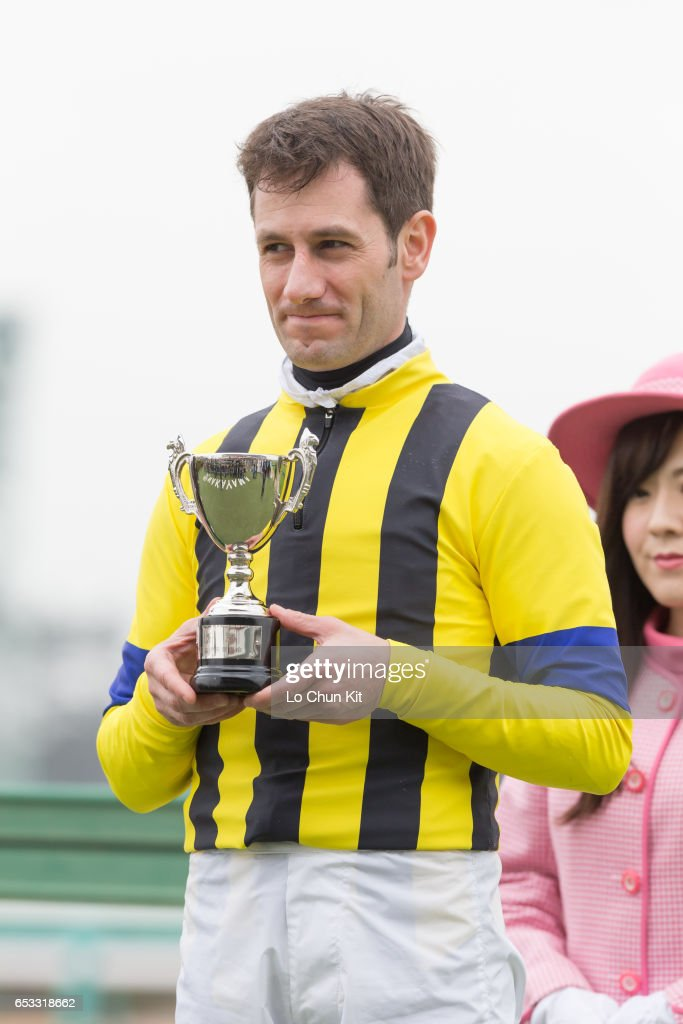 Jockey Mirco Demuro wins the Race 9 at Nakayama Racecourse on March 6, 2016 in Funabashi, Chiba, Japan.