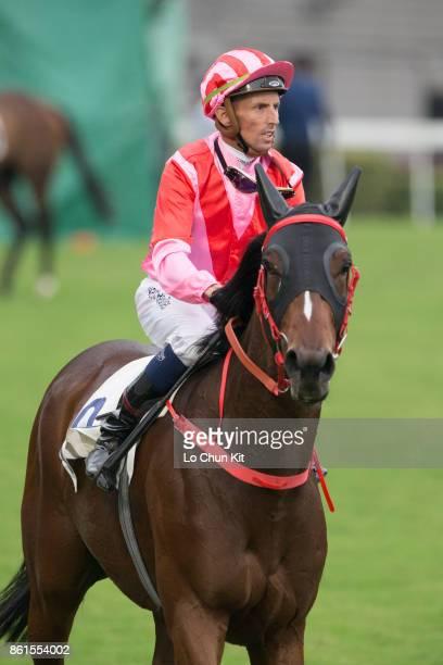 KONG OCTOBER Jockey Nash Rawiller riding Ace King wins Race 8 World Hakka Capital Handicap at Sha Tin racecourse on October 14 2017 in Hong Kong Hong...