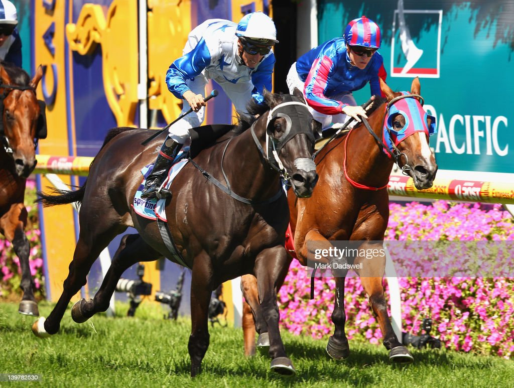 Jockey Nash Rawiller riding King Mufthasa wins Race Five the Cathay Pacific Futurity Stakes during Blue Daimond Stakes Day at Caulfield Racecourse on...